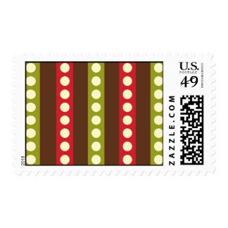 Red Green Brown Polka Dots in Stripes Postage Stamp