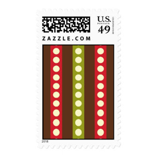 Red Green Brown Polka Dots in Stripes Postage Stamps