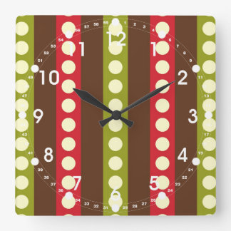 Red Green Brown Polka Dots in Stripes Square Wall Clock