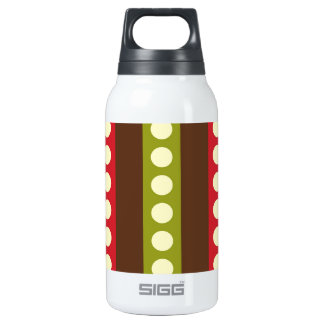 Red Green Brown Polka Dots in Stripes Thermos Bottle