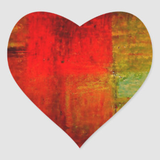 Red Green Browny Yellow Abstract Art Heart Sticker