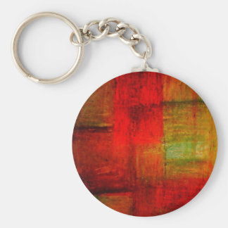 Red Green Browny Yellow Abstract Art Keychain