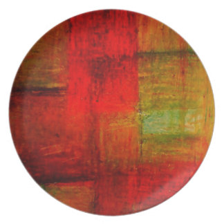 Red Green Browny Yellow Abstract Art Melamine Plate