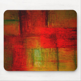 Red Green Browny Yellow Abstract Art Mouse Pad