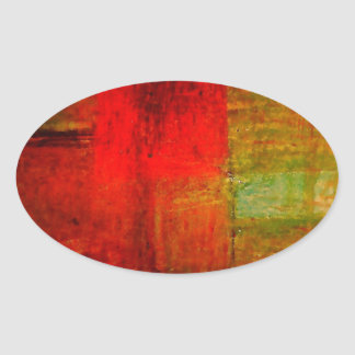 Red Green Browny Yellow Abstract Art Oval Sticker