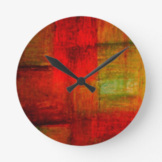 Red Green Browny Yellow Abstract Art Round Clock