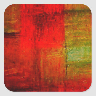 Red Green Browny Yellow Abstract Art Square Stickers
