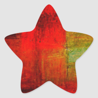 Red Green Browny Yellow Abstract Art Star Sticker