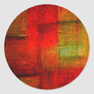 Red Green Browny Yellow Abstract Art Round Stickers