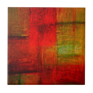 Red Green Browny Yellow Abstract Art Tile