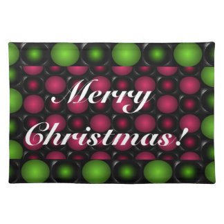 Red Green bubbles 3D Merry Christmas placemats 3