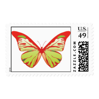 red green butterfly stamp