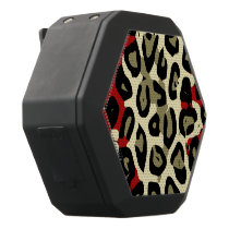 Red Green Camouflage Cheetah Abstract Black Bluetooth Speaker