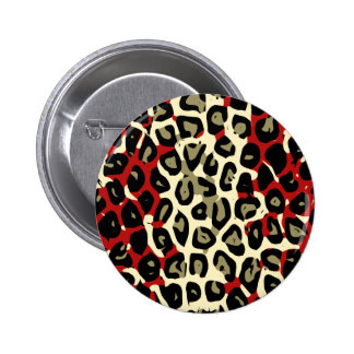 Red Green Camouflage Cheetah Abstract Pinback Button