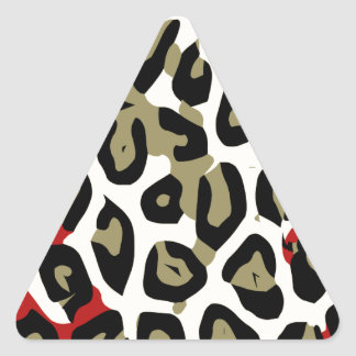 Red Green Camouflage Cheetah Abstract Triangle Sticker