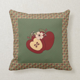 Red Green Checkered Country Apples Pillow