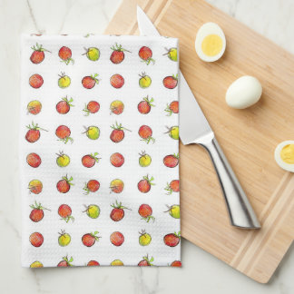 Red Green Cherry Tomatoes Vegetables Art Kitchen Towel