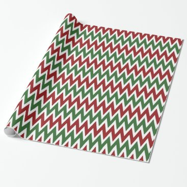 Christmas Themed Red Green Chevron Christmas Holiday Wrapping Paper