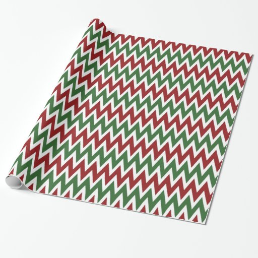 Red Green Chevron Christmas Holiday Wrapping Paper