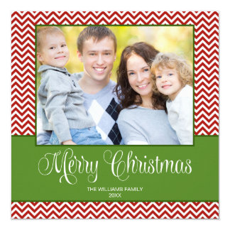 Red Green Chevron Christmas Square Photo Card