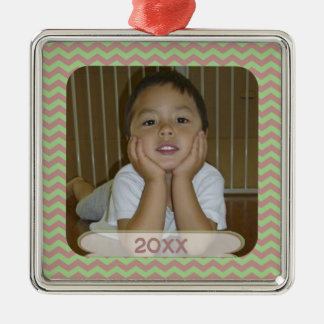 Red & Green Chevron Dated Photo Keepsake Ornament