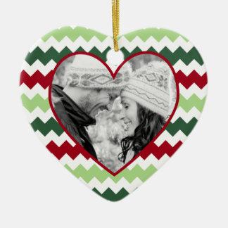 Red Green Chevron Heart Photo Christmas Ornament