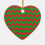 Red Green Chevron Ornament