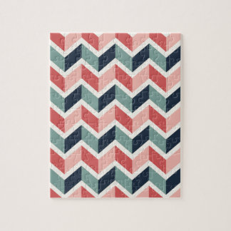 Red Green Chevron Pattern Geometric Designs Color Jigsaw Puzzle