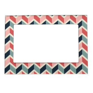 Red Green Chevron Pattern Geometric Designs Color Magnetic Photo Frame