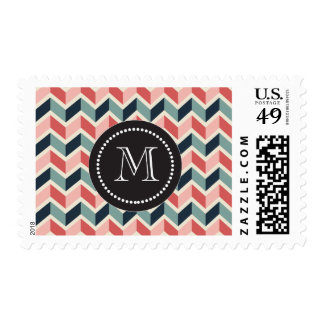 Red Green Chevron Pattern Geometric Designs Color Postage