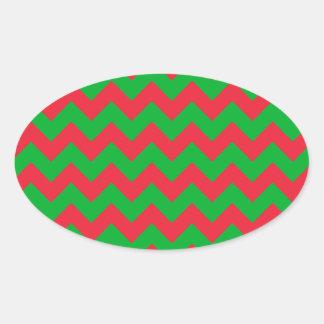 Red Green Chevron Oval Sticker