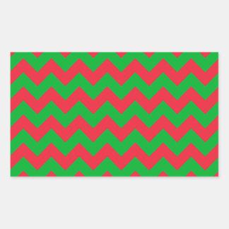 Red Green Chevron Rectangular Sticker