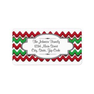 Red Green Chevron zigzag address label, Christmas Address Label