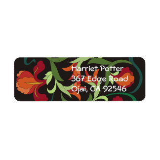 Red Green Chinese Irises Floral Pattern Return Address Labels