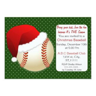 Red & Green Christmas Baseball Tournament 5x7 Paper Invitation Card