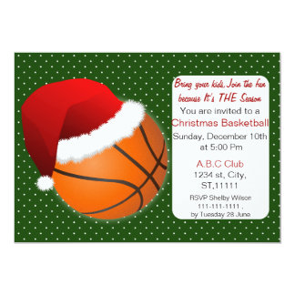 Red & Green Christmas Basketball Tournament 5x7 Paper Invitation Card