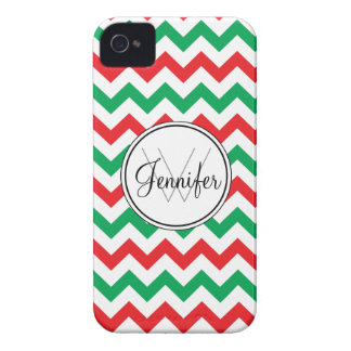 Red & Green Christmas Chevron Monogram iPhone 4/4s iPhone 4 Cover
