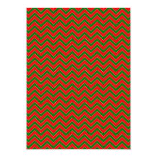 Red & Green Christmas Chevron Zig Zag Stripe Card
