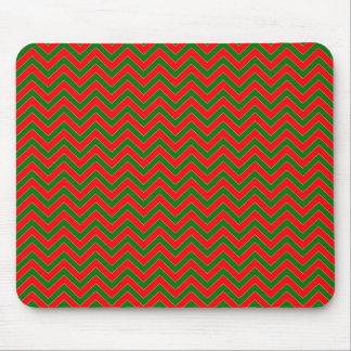 Red & Green Christmas Chevron Zig Zag Stripe Mouse Pad