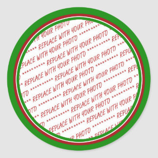 Red & Green (Christmas Colors) Trimmed Template Classic Round Sticker