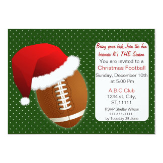 Red & Green Christmas Football Tournament 5x7 Paper Invitation Card