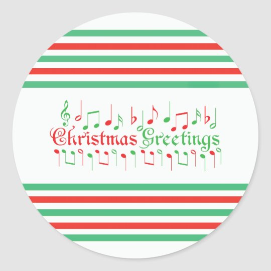 Red & Green Christmas Greetings Classic Round Sticker
