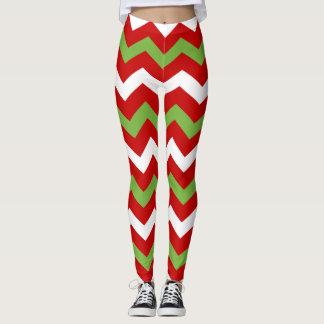 Red Green Christmas Holiday Chevron Pattern Leggings