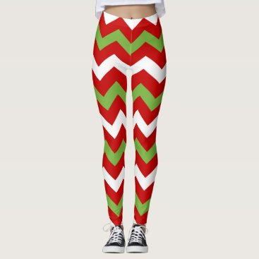 Christmas Themed Red Green Christmas Holiday Chevron Pattern Leggings
