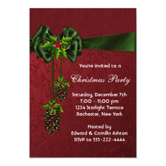 Red Green Christmas Holiday Party 5x7 Paper Invitation Card