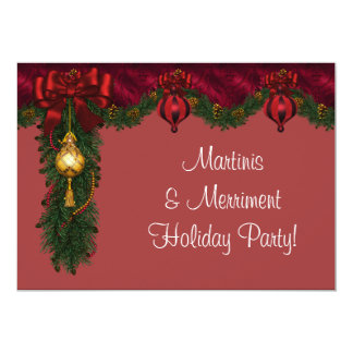 Red Green Christmas Holiday Party Custom Invites