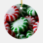 Red & Green Christmas Mints Double-Sided Ceramic Round Christmas Ornament