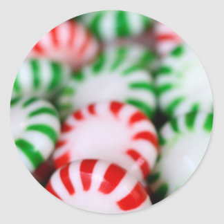 Red & Green Christmas Mints Round Sticker