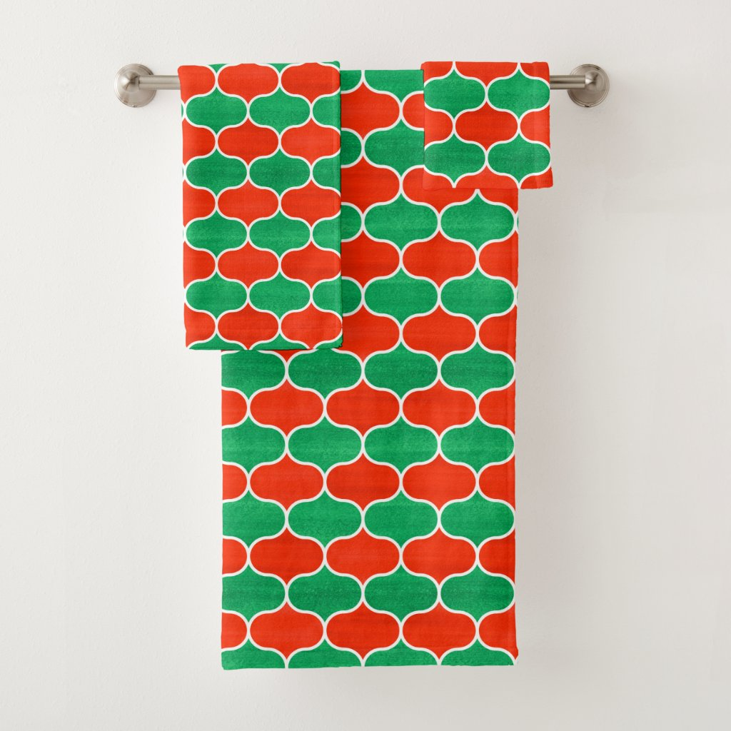Red Green Christmas Ogee Pattern Towel Set