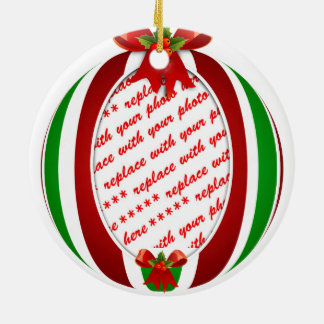 Red & Green Christmas Ornament Photo Frame